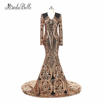 modabelle Sequin Black And Gold Evening Dresses 2018 Robe De Mariee Elegant Dubai Prom Dresses Long African Formal Evening Gown