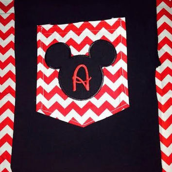 Monogrammed Chevron Mickey Pocket Tee Shirt