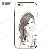 Girl with long Brown Hair Phone Case for iPhone 6 7 6Plus 5S SE