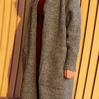 Stylish Heathered Knitted Patch Pocket Open Front Cardigan