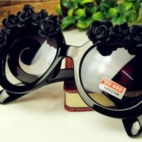 Minid Fashion Design Sunglasses Handmade Rose Flower Summer Black Half Flower Sunglasses(b228)