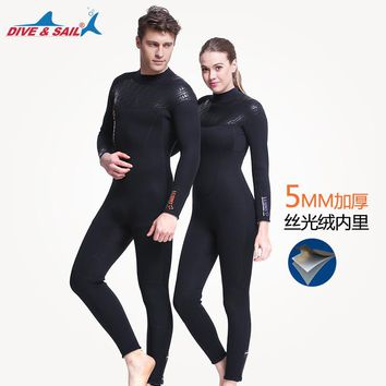 5MM Scuba dive One piece long sleeved Spearfishing Surf wetsuits  Men women Neoprene Wetsuits Snorkeling Diving Jumpsuit