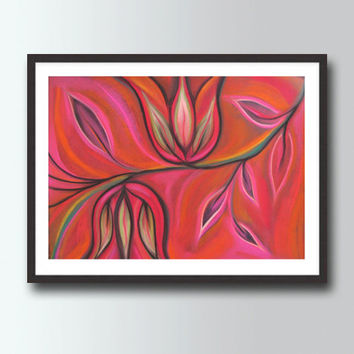 Large Red & Pink Art Print , Flowers Tulips Painting,  Abstract Painting, Modern Home and  Wall decor