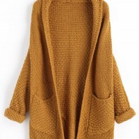 Curled Sleeve Batwing Open Front Cardigan