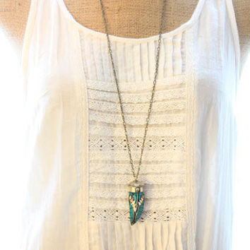 Tibetan Brass and Turquoise horn pendant long necklace/ethnic necklace/tribal/boho chic/unisex/Free people style/layering necklace