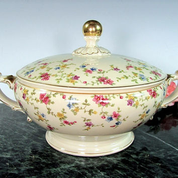 Antique HEINRICH CHRISTINE Bavaria Casserole Pink Blue Floral Ivory Gold Trim
