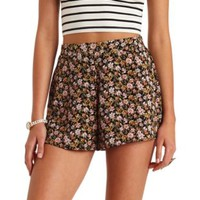 Flowy Floral Print High-Waisted Shorts - Black/Pink