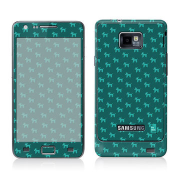Galaxy Decal, Samsung Cover, Galaxy S2 i9100 Case Skin, PLUS Matching Wallpaper - Dogs Teal - Trendy Cute Dog Pattern Turquoise Women Teen
