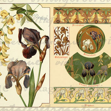 Printable Flowers Collage Sheet Digital Download Fancy Design Elements Image Graphic Antique Clip Art HQ 300dpi No.365