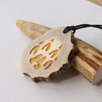 Wolf paw necklace pendant charm print handcrafted out of deer antler