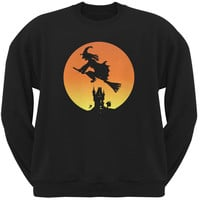 Halloween Witch Sunset Black Adult Sweatshirt