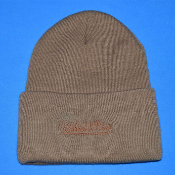 90s Brown Mitchell & Ness Embroidered Logo Beanie Winter Hat