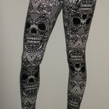 SALE High Waisted Black and White Skulls Leggings Also Plus Size