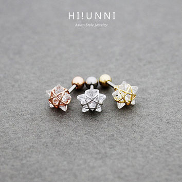 16g Crystal wire frame star ear cartilage stud earring, tragus lobe conch helix piercing barbell / 316l surgical steel / single earring