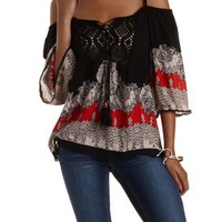Black Combo Border Print Cold Shoulder Top by Charlotte Russe