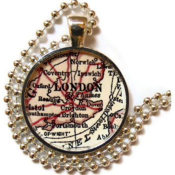 London necklace pendant charm, London map jewelry charms,  photo pendant, Olympics
