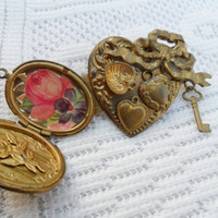 Vintage Gold Locket Brooch Pin - Heart & Key/ /Victorian Steampunk Style