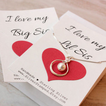 Big Sis Lil Sis Gift Sterling silver infinity necklace with Swarovski pearl, I love my Big sis, sisters jewelry gift from brother for sister
