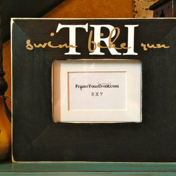 Tri - Swim Bike Run Triathlon Picture Frame