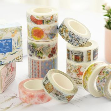 1Pcs Japan Style 24 Design Girl Flower Washi Tape Masking Tape Decoration DIY Sticky Self Adhesive Tape Scrapbook Tape 10M M0292