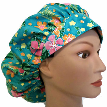 Women's Bouffant Surgical Scrub Hat Cap in Tropical Flowers w/ Elastic and Cord-Lock