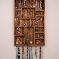 Jewelry Organizer, Earring Holder, Handmade Wood Wall Art