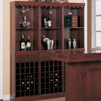 3080 Home bar unit 3 shelf wall wine unit louis phillipe style cherry finish wood with wine bottle and glass storage