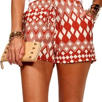 Rust/Ivory Diamond Shorts