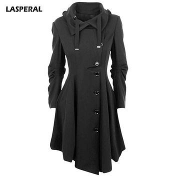 LASPERAL 2017 Irregular Turn-down Collar Long Wool Blend Coat Women Single Breasted Overcoat Autumn Winter Slim Fit Coats Female