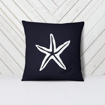 Caspian: Nautical Navy Blue Starfish Throw Pillow