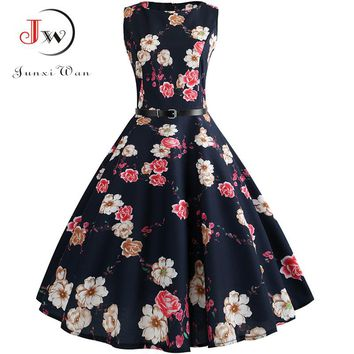 2018 Midi Floral Dresses for Women Bandage Party Dress Hepburn Vintage Retro Robe Femme Sleeveless Swing Pin Up Dress Plus Size