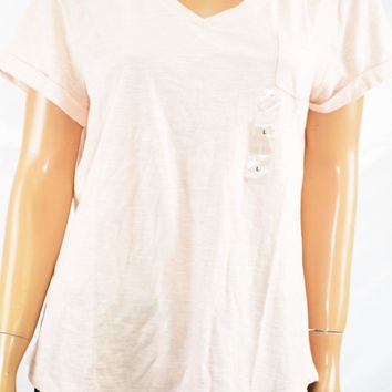 Style&Co Women's V Neck Short Sleeves Cotton Pink Pocketed T-shirt Blouse Top XL
