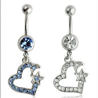 New Charming Dangle Crystal Navel Belly Ring Bling Barbell Button Ring Piercing Body Jewelry = 4804936452