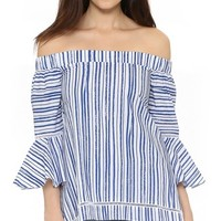 N / Nicholas Washed Stripe Off Shoulder Top