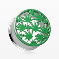A Pair of Cannibis Pot Leaf Iridescent Ear Gauge Tunnel plug