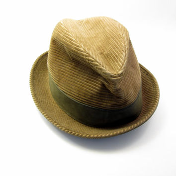 Vintage Brown Corduroy Fedora - Noir Wedding - Bogart Bachelorette - Sexy Sleuth - Dapper Detective Dinner - Mysterious Dress up Costume