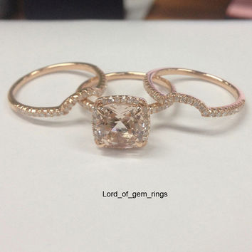 3 Wedding Ring Sets!Claw Prongs 8mm Cushion Cut 2.2ctw Pink Morganite with Halo Diamonds Engagement Ring,14K Rose Gold Bridal Ring