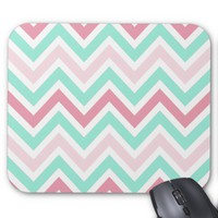Pink and Teal Chevron Pattern Mouse Pad