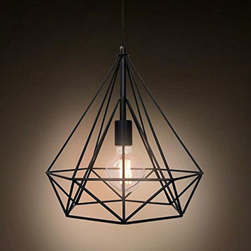Vintage Industrial Style Wrought Iron Diamond Pendant Chandeliers