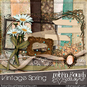 Vintage Spring Digital Scrapbook Kit Clip Art - Heritage Shabby