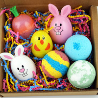 Easter Egg Gift Pack Bath Bomb Set Ultra Lush Handmade Fizzies Shea Cocoa Butter Moisturize Dry Skin Luxurious Premium Quality