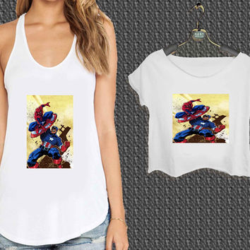 Captain America Spiderman For Woman Tank Top , Man Tank Top / Crop Shirt, Sexy Shirt,Cropped Shirt,Crop Tshirt Women,Crop Shirt Women S, M, L, XL, 2XL*NP*