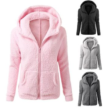 2018 New Women Winter Fleece Jacket Womens Thicken Warm Coat Female Windproof Polar Fleece Basic Jacket Plus Size M-5XL
