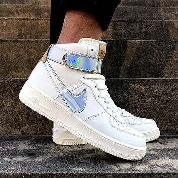 NIKE AIR FORCE 1 Tide brand laser men and women models high-top sports wild shoes