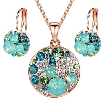 "Leafael ""Ocean Bubble"" Swarovski Crystal Multi-stone Round Disc Pendant Necklace Earrings Jewelry Set, 18"" + 2"""