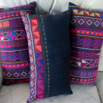 Lumbar Rectangle Pillow Cushion Covers in Colorful Akha Tribal Embroidery on Black