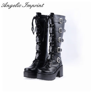 Japanese Harajuku Platform Chunky Heel Cosplay Boots Women Black Leather Buckle Straps Lace Up Gothic Punk High Boots