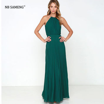 2017 New Limited time Floor-length Women Winter Dress Solid Long Maxi Dress European New Package Hip Sexy Backless Party Dresses