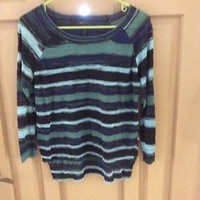 Bcbg Maxazria Blue Black Green Striped Sweater Size S
