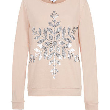 Shell Pink Sequin Snowflake Christmas Sweater